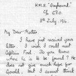 Lettre de son frère, Frederick Peters VC – Première page d'une lettre envoyée par F.T. Peters, VC à sa mère au sujet des recherches effectuées pour retrouver son frère Gerald, porté disparué et réputé décédé.
