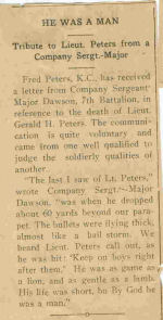 Newspaper clipping – clipping in Prince Rupert Empire on bravery of G.H. Peters