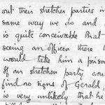 Lettre de son frère, Frederick Peters VC – Troisième page d'une lettre envoyée par F.T. Peters, VC à sa mère au sujet des recherches effectuées pour retrouver son frère Gerald, porté disparué et réputé décédé.