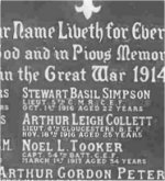 Memorial Plaque – memorial in Charlottetown church cemetery to Gerald, along with his brother Jack Peters and cousin Arthur Peters