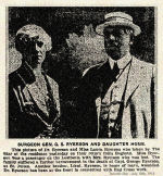 Newspaper Clipping – Captain George C. Ryerson's father and sister.  Surgeon General George Sterling Ryerson survived the sinking of the Lusitania on May 7th, 1915.  His mother, Mary Amelia Crowther (Mrs. Ryerson) was drowned when her lifeboat capsized.  Her daughter Laura, shown in this photo, was saved.