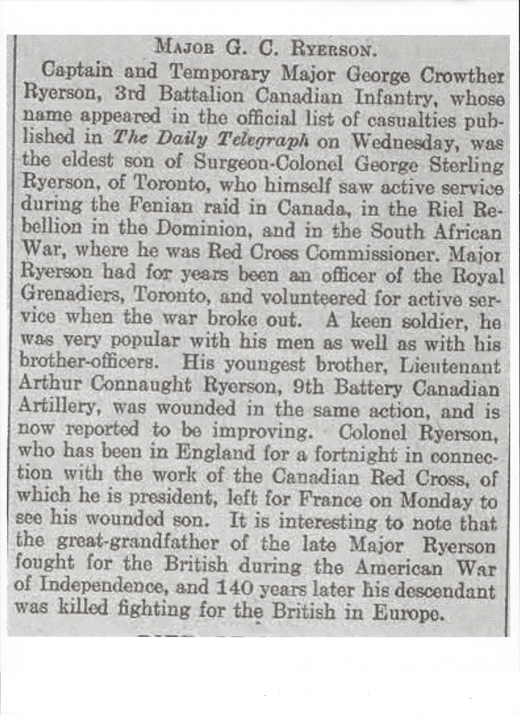 Newspaper Clipping – Newspaper clipping from Daily Telegraph of April 30, 1915. Image taken from web address of http://www.telegraph.co.uk/news/ww1-archive/11561799/Daily-Telegraph-April-30-1915.html