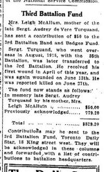Newspaper Clipping – From the Toronto Star for 23 October 1916, page 1.