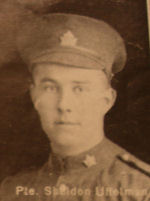 Photo of Sheldon Uffelmann – In memory of the men and women from the Waterloo area who went to war and did not come home. From the booklet, Peace Souvenir – Activities of Waterloo County in the Great War 1914 – 1918. From the Toronto Public Library collection.