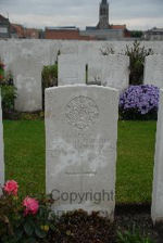 Grave marker – Captain Henry Ewart Bethune, M.C. was 25 years of age. He was the son of Henry J. and Laura Bethune of Toronto Canada. I. D. 7. He was an alumni of the Royal Military College of Canada  1912 #940. He served with Highland Light Infantry, 12th Bn. He died on Sep 30, 1918. He was buried in the Zantvoorde British Cemetery, Zonnebeke West-Vlaanderen, Belgium. His name is listed on the Memorial Arch at the Royal Military College of Canada. Photograph and details by volunteer/s: Jean-Michel Van Elslande. http://www.twgpp.org/information.php?id=1738700
