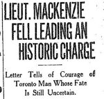 Newspaper Clipping – From the Toronto Star for 30 November 1914.