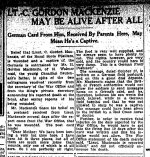 Newspaper Clipping (2) – From the Toronto Star for 24 November 1914.