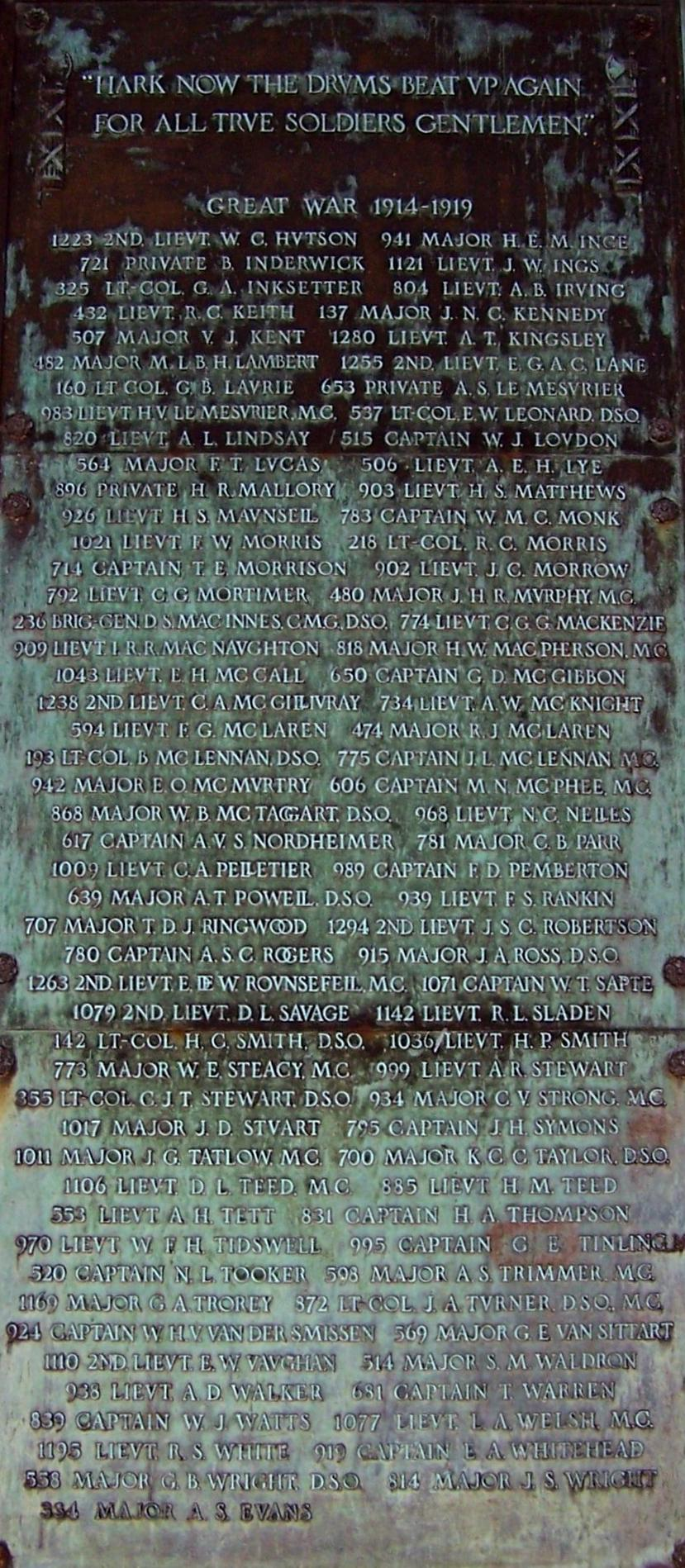Memorial – Ex-cadets are named on the Memorial Arch at the Royal Military College of Canada in Kingston, Ontario and in memorial stained glass windows to fallen comrades.