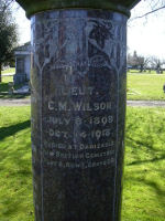 Inscription – Close up of the family memoral stone in the Mountian View cemetery in Vancouver BC Canada for Lieut Claude Melnot Wilson  R.A.F.  Killed in action Oct. 14th 1918 aged 20
