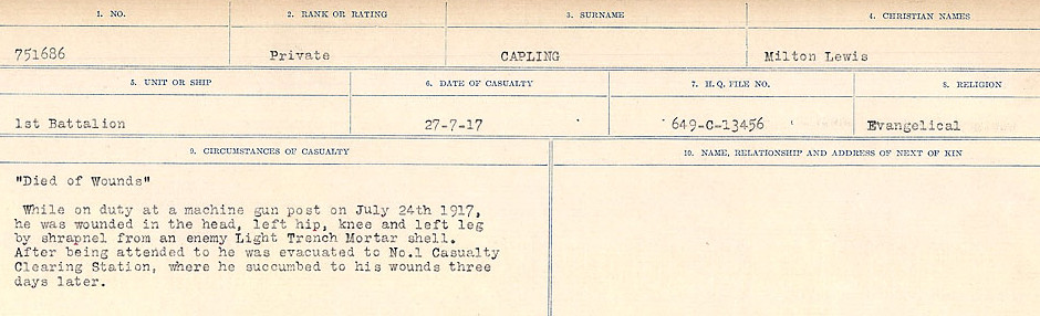 Circumstances of Death Registers – Source: Library and Archives Canada.  CIRCUMSTANCES OF DEATH REGISTERS, FIRST WORLD WAR Surnames:  Canavan to Caswell. Microform Sequence 18; Volume Number 31829_B016727. Reference RG150, 1992-93/314, 162.  Page 109 of 1004.