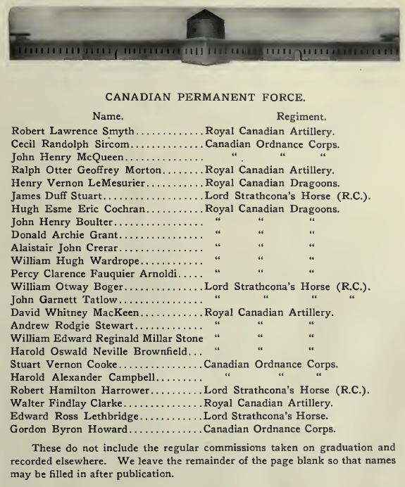 Roll of honour – Stone Frigate 1914 Canadian Permanent Force 1017 Major James Duff Stuart (RMC 1914) was the son of Brig. Gen. James Duff Stuart and Mary Stuart, of 1403, Balfour Avenue, Vancouver, British Columbia. He served with the Royal Flying Corps, 43rd Sqdn. He died on 7 Mar 1917. His name is listed on the Arras Flying Services Memorial in Pas de Calais, France.