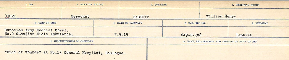 Circumstances of Death – Source: Library and Archives Canada.  CIRCUMSTANCES OF DEATH REGISTERS, FIRST WORLD WAR Surnames:  Bark to Bazinet. Mircoform Sequence 6; Volume Number 31829_B016716. Reference RG150, 1992-93/314, 150.  Page 709 of 1058.