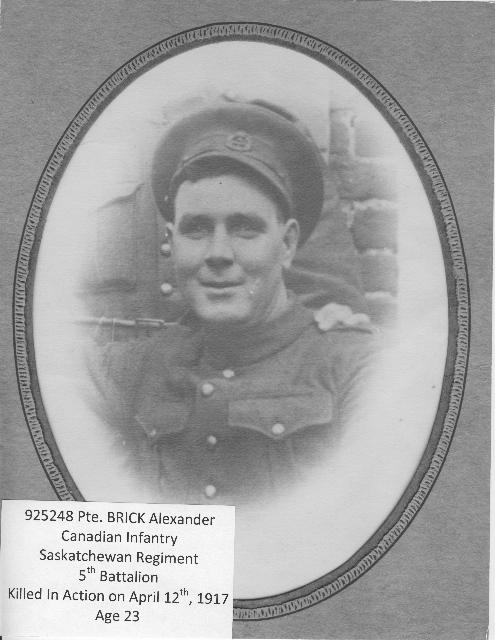 Photo of Alexander Brick – 925248 PTE BRICK Alexander Canadian Infantry Saskatchewan Regiment  5th Battalion Killed In Action April 12th 1917