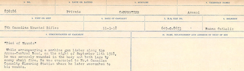 Circumstances of Death Registers – Source: Library and Archives Canada.  CIRCUMSTANCES OF DEATH REGISTERS, FIRST WORLD WAR Surnames:  Canavan to Caswell. Microform Sequence 18; Volume Number 31829_B016727. Reference RG150, 1992-93/314, 162.  Page 399 of 1004.
