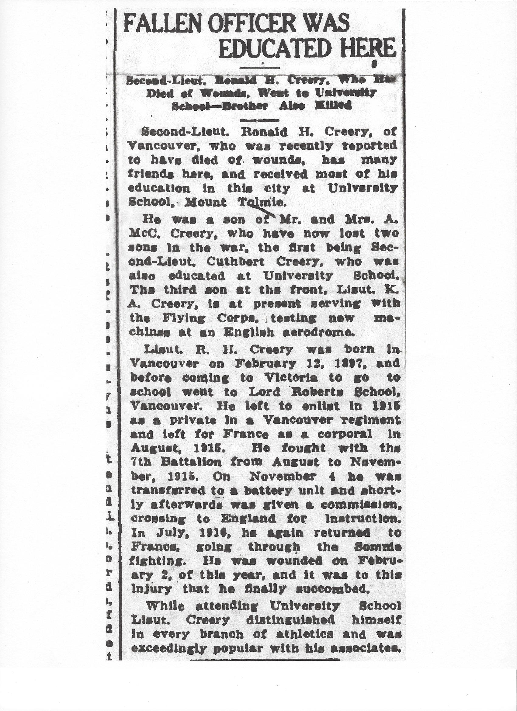 Newspaper clipping – From the Daily Colonist of April 28, 1917. Image taken from web address of http://archive.org/stream/dailycolonist59y120uvic#page/n0/mode/1up