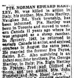 Newspaper Clipping – Obituary from the Toronto Star February 1, 1945, page 8