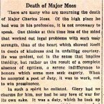 Newspaper Clipping 3 – Toronto Star Editorial dedicated to Major Charles A. Moss from the October 26th, 1916 edition.