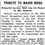 Tribute – Description of Memorial Tribute to Major Charles Alexander Moss by the Royal Grenadiers in Toronto.