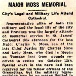 Newspaper Clipping 4 – Description of 1916 Memorial Service for Major Charles A. Moss held at St. James Cathedral on King Street West in Toronto.