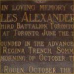 Memorial Plaque – Memorial Plaque dedicated to Major Charles Alexander Moss.  Located at St. James Cathedral, Toronto, Ontario, Canada.