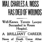 Newspaper Clipping 2 – Tribute to Major Charles A. Moss from the Toronto Star's October 25th, 1916 edition.