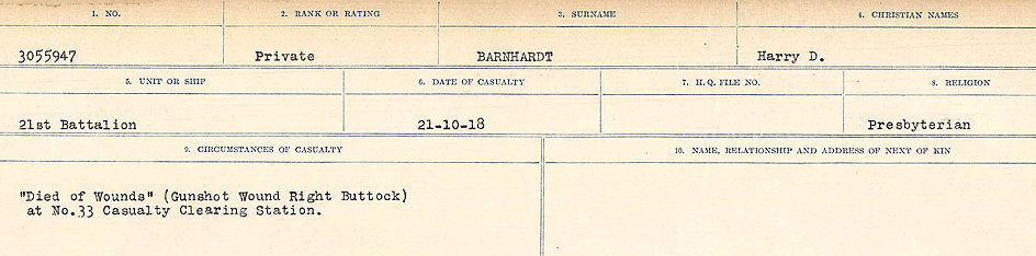 Circumstances of Death – Source: Library and Archives Canada.  CIRCUMSTANCES OF DEATH REGISTERS, FIRST WORLD WAR Surnames:  Bark to Bazinet. Mircoform Sequence 6; Volume Number 31829_B016716. Reference RG150, 1992-93/314, 150.  Page 295 of 1058.