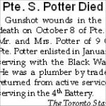 Newspaper Clipping – The online attestation for Pte. Sidney Potter indicates that he enlisted in June 1915.