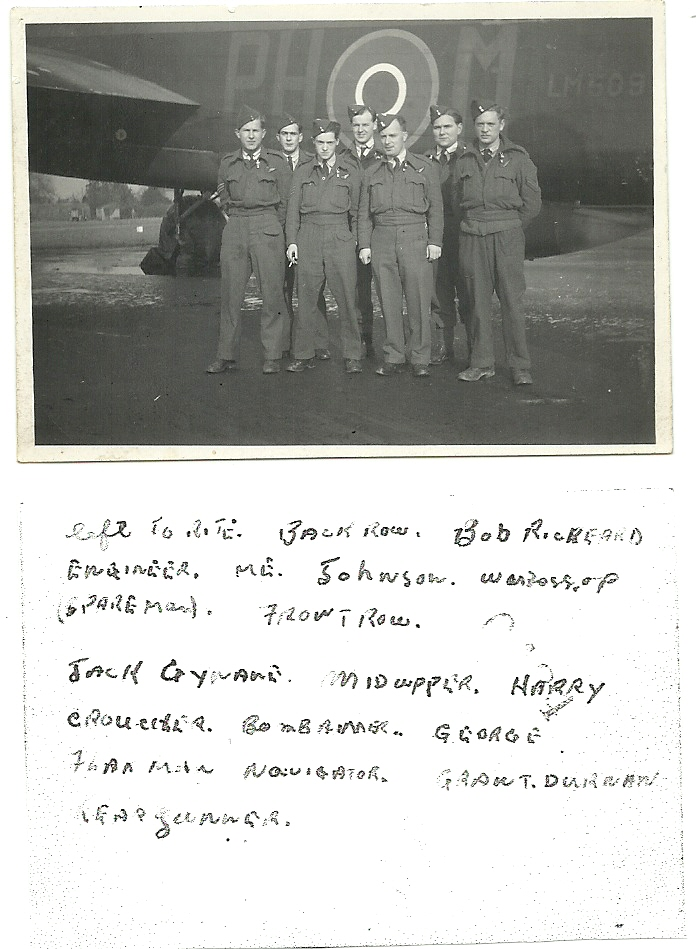Group Photo – I have had this picture of my Uncle Keith Hanbidge's WWII Lancaster Crew with some of my grandmothers things for years.  Today I took it out of the cover it was in and saw that Keith had written all the names on the back of the photo.  Unfortunately there is no date.