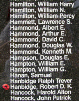 Memorial – Flying Officer Robert Donald Keith Hanbidge is also commemorated on the Bomber Command Memorial Wall in Nanton, AB … photo courtesy of Marg Liessens
