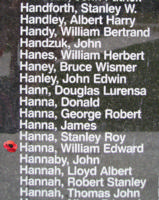 Memorial – Flying Officer William Edward Hanna is also commemorated on the Bomber Command Memorial Wall in Nanton, AB … photo courtesy of Marg Liessens