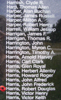 Memorial – Flying Officer Robert Douglas Harris is also commemorated on the Bomber Command Memorial Wall in Nanton, AB … photo courtesy of Marg Liessens