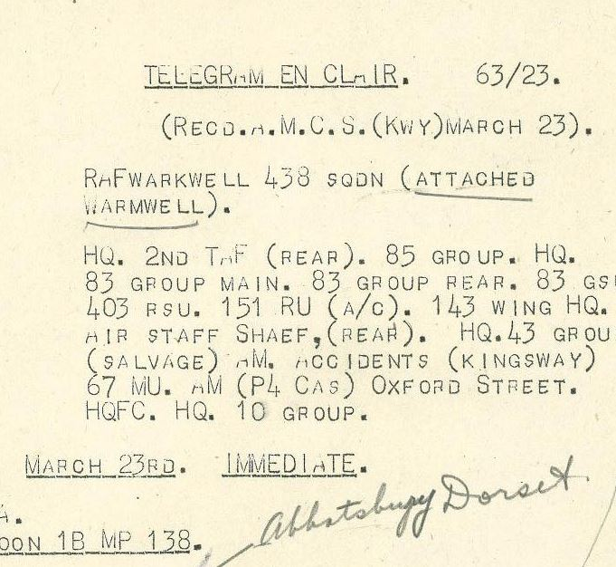 Letter – Telegram from Library and Archives Canada, Ottawa.