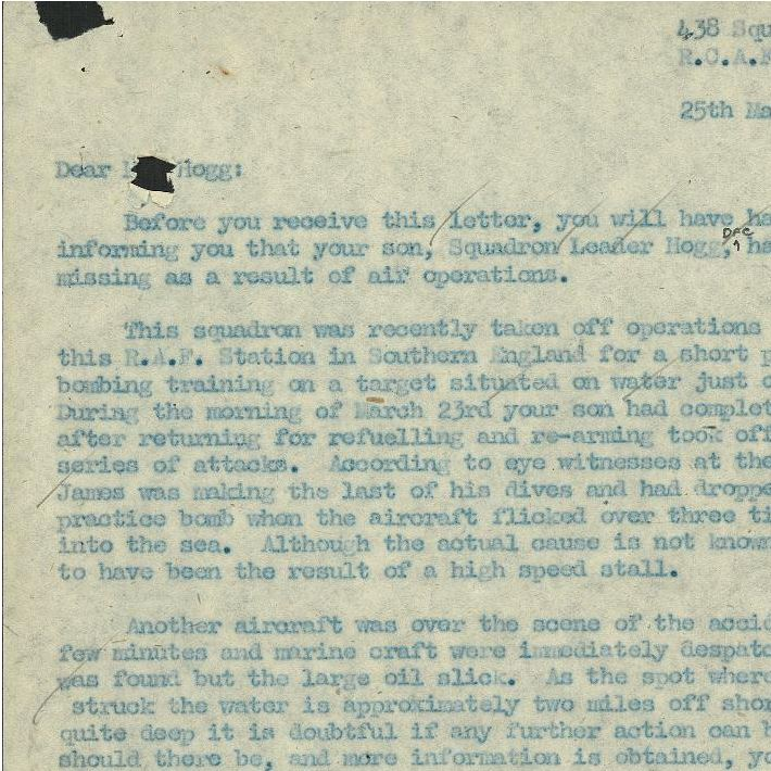 Letter – Page One of letter above Hogg's crash.  Library and Archives Canada, Ottawa.