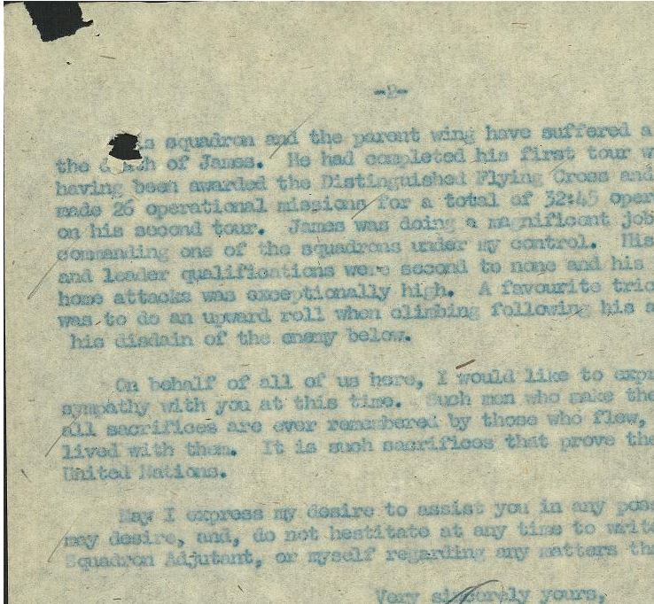 Letter – Page Two of letter above Hogg's crash.  Library and Archives Canada, Ottawa.