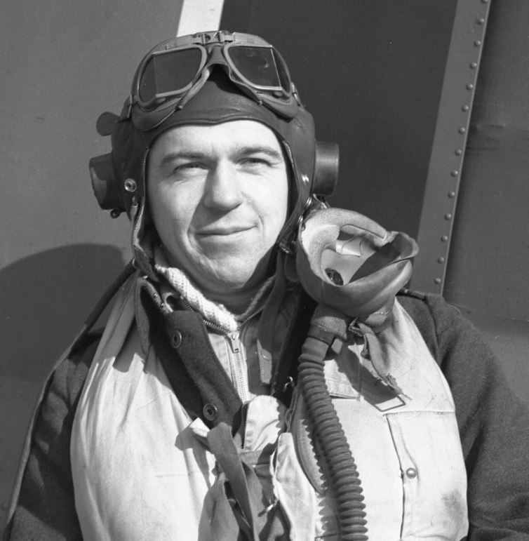 Photo of JAMES EASSON HOGG – JE Hogg by the rudder of his Hawker Typhoon