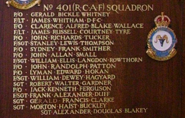 Inscription – Flying Officer Junious Lyman Edward Hokan is also commemorated at St George's Royal Air Force Chapel of Remembrance - Biggin Hill … name on the panels that surround the Altar … Photo courtesy of Marg Liessens