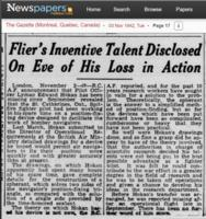 Newspaper clipping – Flier's Inventive Talent Disclosed on Eve of his loss in Action