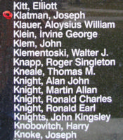 Memorial – Flying Officer Joseph Klatman is also commemorated on the Bomber Command Memorial Wall in Nanton, AB … photo courtesy of Marg Liessens