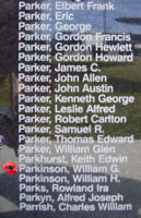 Memorial – Flight Sergeant William George Parkinson is commemorated on the Bomber Command Memorial Wall in Nanton, AB … photo courtesy of Marg Liessens