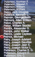 Memorial – Pilot Officer Michael Patrick is commemorated on the Bomber Command Memorial Wall in Nanton, AB … photo courtesy of Marg Liessens