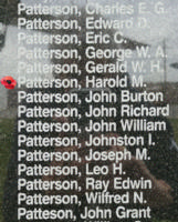 Memorial – Flying Officer Harold McCosh Patterson is also commemorated on the Bomber Command Memorial Wall in Nanton, AB … photo courtesy of Marg Liessens