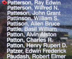 Memorial – Pilot Officer Ray Edwin Patterson is commemorated on the Bomber Command Memorial Wall in Nanton, AB … photo courtesy of Marg Liessens