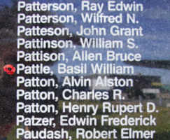 Memorial – Pilot Officer Basil William Pattle is also commemorated on the Bomber Command Memorial Wall in Nanton, AB … photo courtesy of Marg Liessens