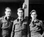 Photo of Harold Sherman Peabody – Pilot H. S. (Al) Peabody is flanked by fellow RCAF Flight Officers RL Fiddick (engineer, left) and JH (Harry) Doe (navigator, right).  Their Lancaster Bomber (L7576) crashed at 0130 29 July 1944 in rural eastern France subsequent to a bombing run over Stuttgart.  Three flight sergeants, A Payton, RG Prouix, and PW Buckley (not shown), were killed immediately and are interred in a local cemetary at Petitmont. A fellow RAF flight officer, GJ Wishart (not shown), was wounded and survived the war in a POW camp. Fiddick, with the aid of a local priest (Father Rohr) and members of the French underground, evaded capture and eventually returned to Canada. Peabody and Doe were caught by the Germans while walking along a road on 31 July 1944 and were never seen again.  Peabody and Doe are counted with other missing Commonwealth airmen at the Runnymede Memorial (Surrey UK), Panels 247 and 245, respectfully.