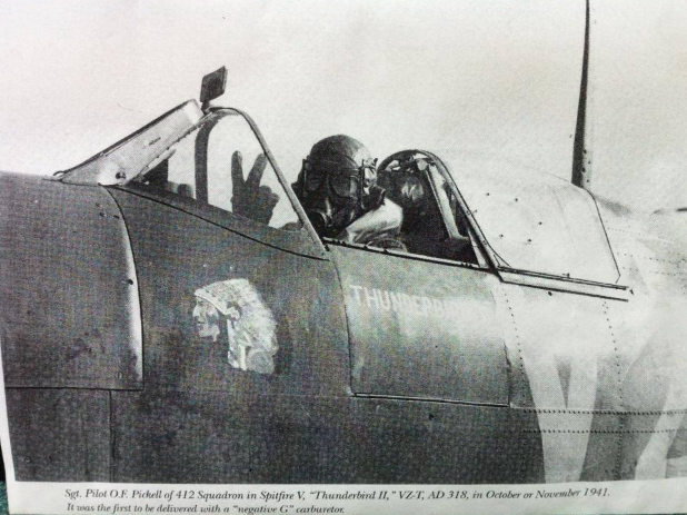 Newspaper Clipping – Flying his Spitfire
