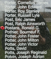 Memorial – Flight Sergeant Ronald George Postans is also commemorated on the Bomber Command Memorial Wall in Nanton, AB … photo courtesy of Marg Liessens