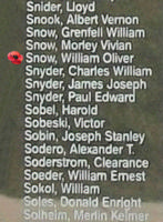 Memorial – Flight Sergeant William Oliver Snow is commemorated on the Bomber Command Memorial Wall in Nanton, AB … photo courtesy of Marg Liessens