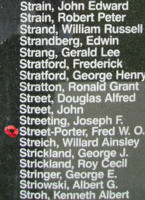 Memorial – Flying Officer Frederick Walter Ollis Street-Porter is commemorated on the Bomber Command Memorial Wall in Nanton, AB … photo courtesy of Marg Liessens