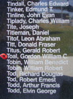 Memorial – Warrant Officer Class II Gordon William Chester Toal is commemorated on the Bomber Command Memorial Wall in Nanton, AB … photo courtesy of Marg Liessens