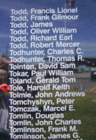 Memorial – Pilot Officer Harold Keith Tole is commemorated on the Bomber Command Memorial Wall in Nanton, AB … photo courtesy of Marg Liessens